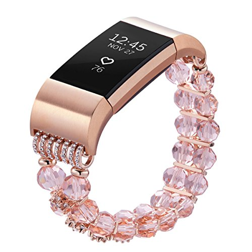 Pintaik Replacement for Fitbit Charge 2 Band Women 2018 Fashion Crystal Pearl Beaded Elastic Bracelet Lady Girl Jewelry Wristband Luxury Bling Watch Strap Gift Idea from Pintaik