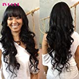 None Lace Human Hair Wigs with Bangs 200% Density Mongolian Virgin Hair Body Wave Machine Made Open Weft Non Lace Wig for Women (22inch)