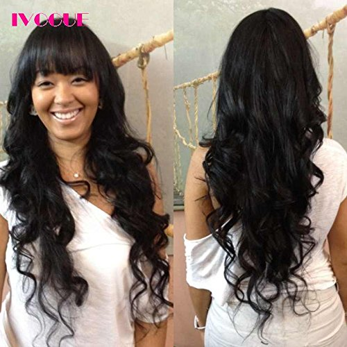 None Lace Human Hair Wigs with Bangs 200% Density Mongolian Virgin Hair Body Wave Machine Made Open Weft Non Lace Wig for Women (22inch) by iVogue Hair