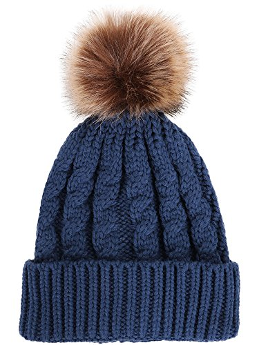(Livingston Women's Winter Soft Knitted Beanie Hat with Faux Fur Pom Pom,Denim Blue )