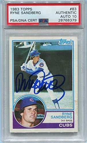 RYNE SANDBERG SIGNED 1983 TOPPS ROOKIE Card RC #83 GRADED 10 AUTOGRAPH AUTO - PSA/DNA Certified - Baseball Slabbed Autographed Cards
