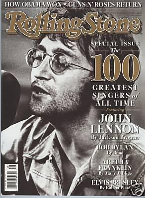 JOHN LENNON ROLLING STONE MAGAZINE NOVEMBER 2008 100 GREATEST SINGERS OF ALL TIME!