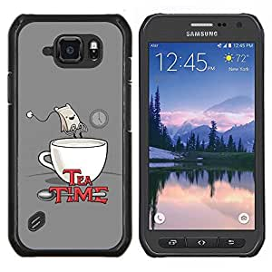 "Be-Star Único Patrón Plástico Duro Fundas Cover Cubre Hard Case Cover Para Samsung Galaxy S6 active / SM-G890 (NOT S6) ( Cita Tea Time Bolsa divertido del dibujo del arte Comic"" )"
