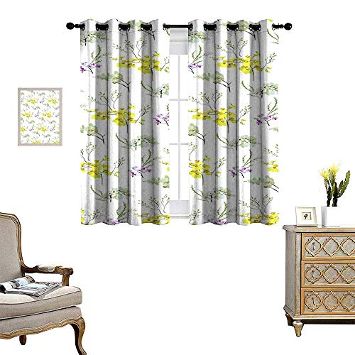 Suchashome Curtains for Bedroom Floral Seamless Pattern with Different Flowers and Leaves Botanical Illustration Hand Painted Textile Print Fabric Swatch Wrapping Paper Drapes W84 x ()