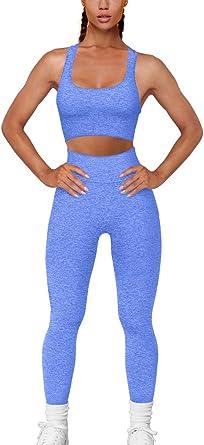 FAFOFA Workout Outfits for Women 2 Piece Ribbed Seamless Crop Tank High Waist Yoga Leggings Sets