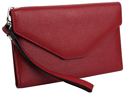 Blocking Leather Large Wristlet Clutch Passport Checkbook Wallet Pebbled Red ()