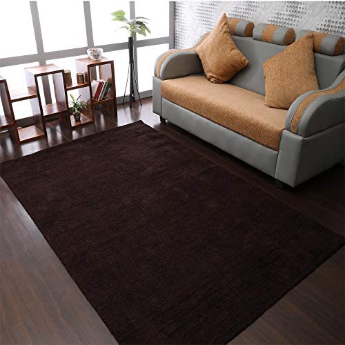 Rugsotic Carpets Hand Knotted Gabbeh Wool 10'x13' Area Rug Solid Brown L00111
