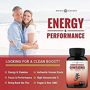 NutraChamps Korean Red Panax Ginseng 1000mg - 120 Vegan Capsules Extra Strength Root Extract Powder Supplement w/High Ginsenosides for Energy, Performance & Mental Health Pills for Men & Women natural male enhancing pills erection - 51BOyFRT3CL - natural male enhancing pills erection