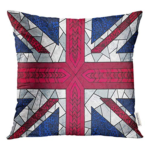 Semtomn 16x16 Inch Throw Pillow Covers Decorative Case Great Britain Flag Unusual Zentangle National Symbol Abstract English Cover Square Pillowcase Cushion Cases Both Sides Print ()