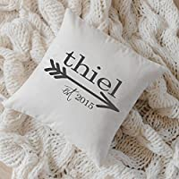 Personalized Throw Pillow - Arrow Family Name, wedding, engagement gift, newlywed, wedding shower, throw, cushion cover