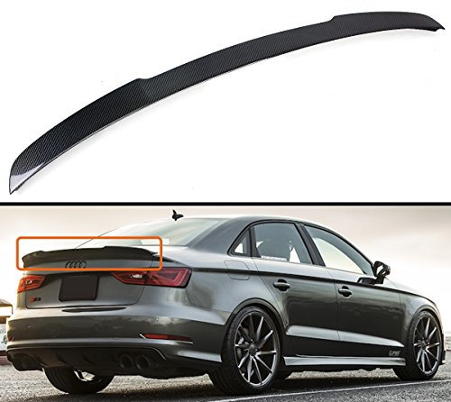 Cuztom Tuning Fits for 2014-2019 Audi A3 S3 RS3 Sedan Duckbill Highkick Carbon Fiber Trunk Lid Spoiler Wing