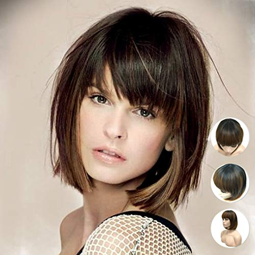 (MERISIHAIR Short Bob Hair Wigs Synthetic Black Ombre Brown Straight Wig with Flat Bangs Heat Resistant for Women Natural As Real Hair Free Wig Cap 12