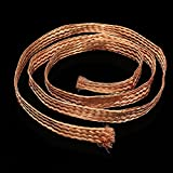 1m 3.3ft 15mm Flat Pure Copper Braid Mayitr High Flexibility Cable Bare Copper Braid Wire Ground Lead