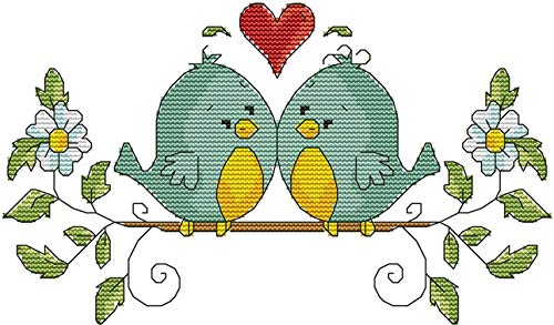 (eGoodn Cross Stitch Stamped Kit Pre-Printed Pattern Love Birds, 11CT Aida Fabric Size 14.6