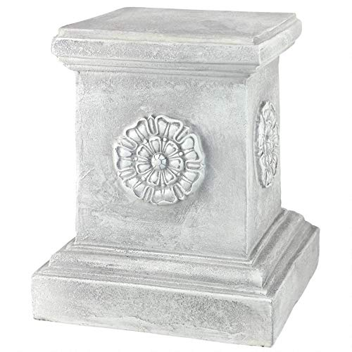 Design Toscano English Rosette Sculptural Garden Plinth Base Riser, Large 13 Inch, Polyresin, Antique Stone (Statues Lion Outdoor Resin)