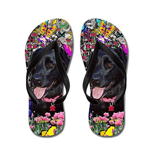 CafePress Abby Black Lab In Butterflies - Flip Flops, Funny Thong Sandals, Beach Sandals Black