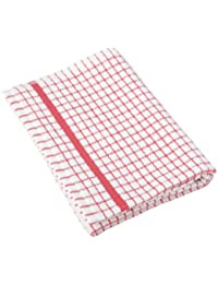 CheckOut 1 Dozen Original Lamont Poli-Check Tea Towel Kitchen Dish Towels Poli Dri, 12 Pack (Red) deal