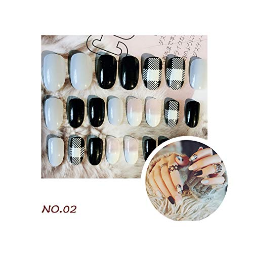Fake Nails Kit Bright UV Gel Salon Chrome Long Sharp Nail Tips Full Cover Fake Nails Acrylic False Nails with Double Tape - 24Pcs Artificial Manicure Set (02) for $<!--$10.01-->