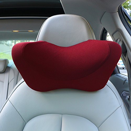 Car headrest pillow, Car Neck Pillow Memory Foam With Adjustable,Car Seat Head Pillow for driving,neck pillow for car,car seat neck support (Wine Red)