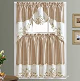 Arch Floral Kitchen Cafe Curtain Set. Window