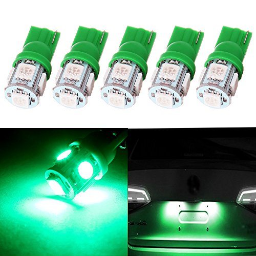 - cciyu 194 Extremely Bright LED Bulbs T10 5-5050-SMD Light Lamp License Plate Light Lamp Wedge T10 168 2825 W5W Green Pack of 5
