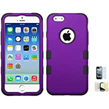 iPhone 6/6s Case, [Armor] Heavy Duty [Purple Black] Dual Layer EXTREME Protection Cover Heavy Duty Holder for iPhone 6, 6s Momiji® Cleaning Cloth, [Screen Guard]