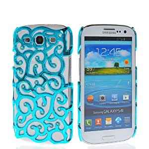 SHOPPINGBOX Luxury Chrome Electroplating Hollow Out Pattern PC Hard Back Cover Case For Samsung Galaxy S3 I9300 Azure