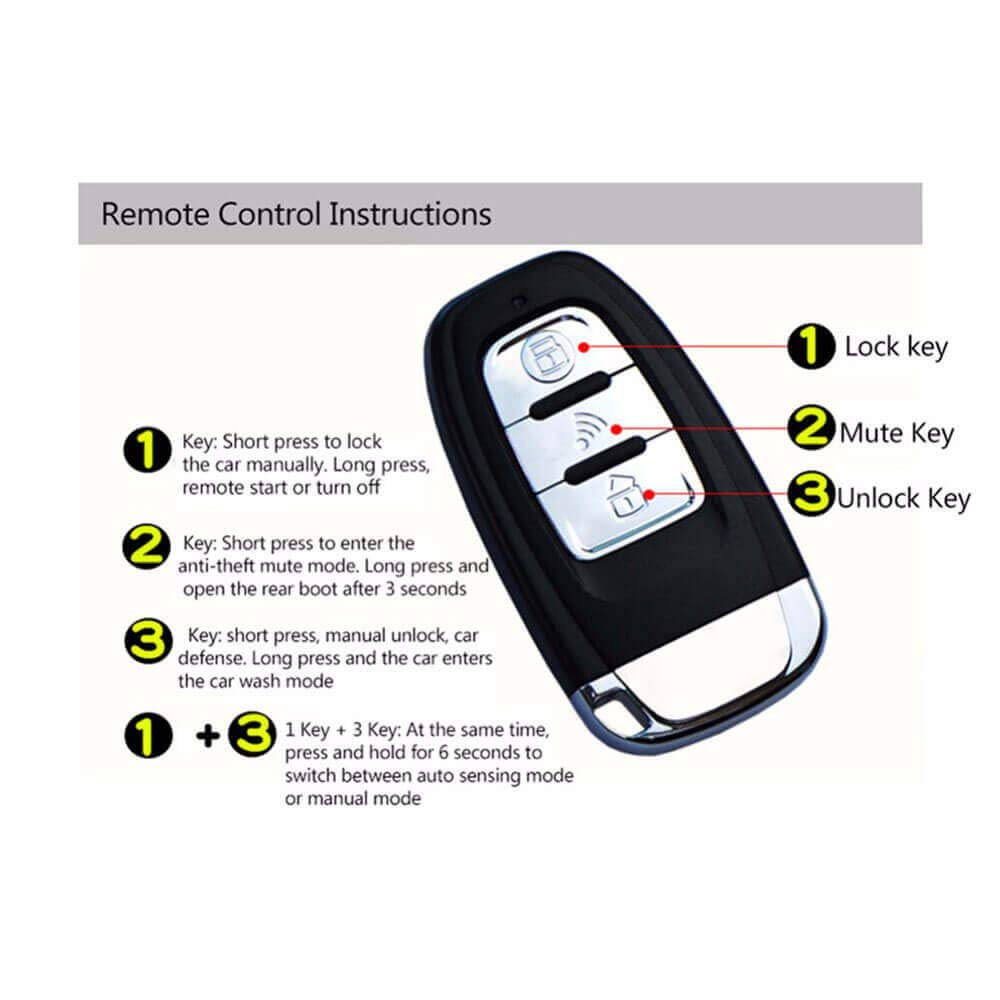 APP 2 Way 3-5M Automatic Keyless Entry Central Locking with 80-100M Remote Start Car Alarm System GIORDON Remote Starters kit Application for All Cars