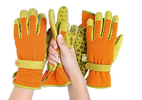 Orange Gardening Gloves - Dig It Handwear Innovative Womens Utility Garden Gloves with Nail Protectors, Water Resistance, Non-Slip Silicone dots, Convenient 2-Pack, Small/Medium, Orange/Green