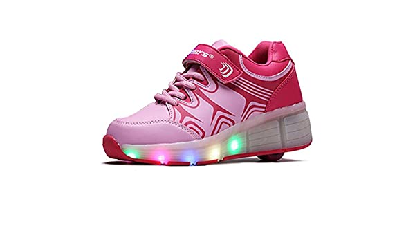 Amazon.com: 2016 New Wheely Children Roller Shoes Boys Girls LED Lighted Flashing Fashion Sneakers Zapatillas Skating Shoes With Wheel S3A06 (11, ...