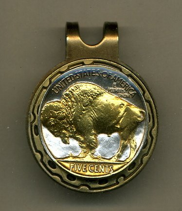 Buffalo Nickel 1913-1938 Two Tone Coin Golf Ball Marker ()