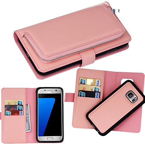 DRUnKQUEEn S7 Case, Galaxy S7 Case, Premium Slim Wallet Zipper Clutch Leather Credit Card Holder Feature Purse Flip Type Removable Case - Detachable Magnetic Back Cover for Samsung Galaxy S 7