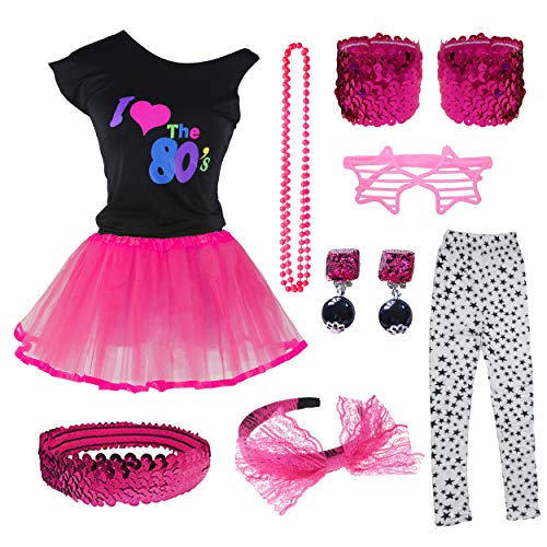 I Love The 80s T-Shirt Tutu Skirt for 1980s Theme Party Costume Set (10-12, Hot Pink) ()