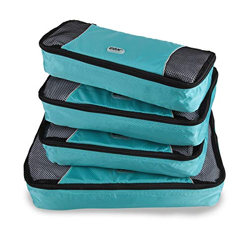 GOX Upgraded 4 piece Packing Cubes Travel Luggage Organizers 1 Large 2 Medium 1 Slim (Sky blue)