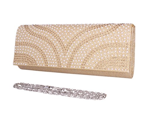 Day Of Saturn Bolso Clutch Elegante Con Solapa Diamante Para Mujer Fiesta ,Blanco Dorado