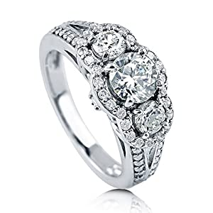 BERRICLE Rhodium Plated Sterling Silver Cubic Zirconia CZ 3-Stone Halo Split Shank Ring Size 4
