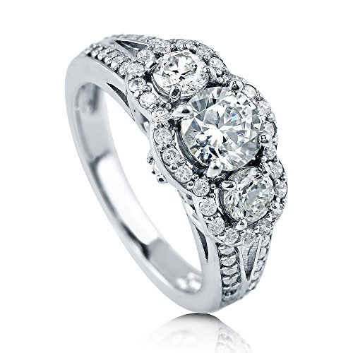 (BERRICLE Rhodium Plated Sterling Silver Round Cubic Zirconia CZ 3-Stone Halo Engagement Split Shank Ring 1.74 CTW Size 9.5)