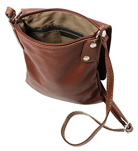 Leather Body Shoulder Handbag Bag Cross Vera Pelle Retail Small Dark Italian Amethyst Soft Red 88AfIx0q