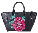Pifuren Floral Designer Purses and Handbags Womens Totes Flower Bag H77805(One Size, Black/Red)