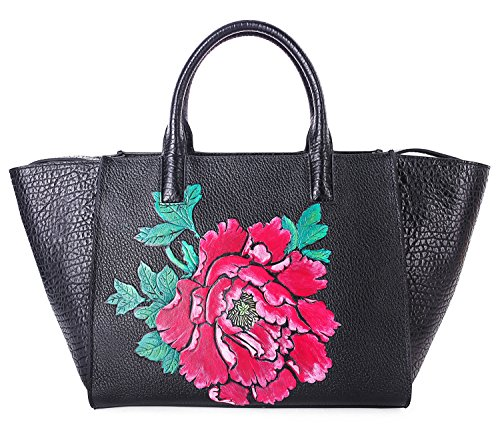 Pifuren Floral Designer Purses and Handbags Womens Totes Flower Bag H77805(One Size, Black/Red) by PIFUREN