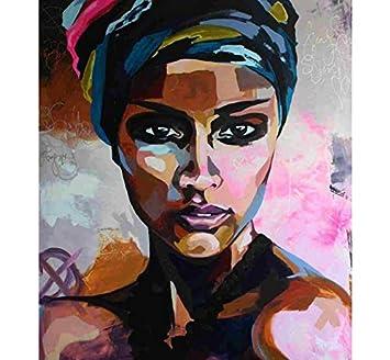 Ycsmyxgs Diy Nombre Peinture Africaine Femme Portrait Peinture Sur
