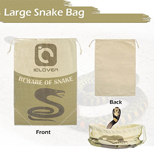 Snake Reptile Bag with Drawstring, IC ICLOVER 20″ x 28″ Heavy Duty Large Snake Hunting Pouch with Sewn Bottom Corners for Moving Transporting Capturing Hunting Catching Snakes Reptiles