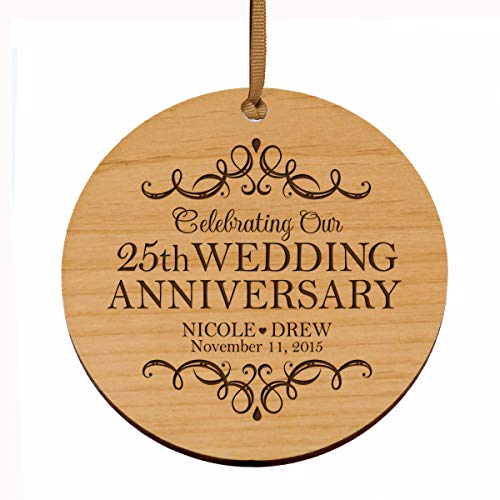 - LifeSong Milestones Personalized 25th Anniversary Wood Style Christmas Ornament for 25 Years of Marriage - Twenty Five Year Wedding Keepsake Gift for Parents Husband Wife him her 3.75