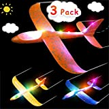 Airplane Toy for Kids, 3 Pack 13.5'' LED Light Up Throwing Foam Airplane Flying Aircraft Plane DIY Glider Aeroplane Model Jet Kit Flying Toys for Boys Girls Teens, Outdoor Sport Game Toys Party Favors