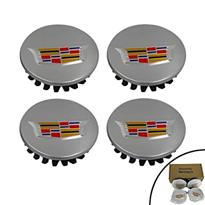 Shenwinfy 2 5/8 Inch Wheel Center Hub Caps for 2004-2009 Cadillac, 65mm Chrome Center Cap Emblem for ATS CTS DTS SRX XTS XLR Wheels 9597375 4PCS (Silver): Automotive