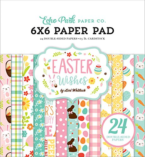 Echo Park Paper Company Easter Wishes 6x6 Pad Paper Pink, Yellow, Teal, Green, Brown, Orange ()