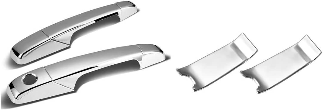 Sizver Chrome Door Handle+Bowl Covers For 2007-2014 GMC Sierra 15002 door only NO Passenger Side Keyhole