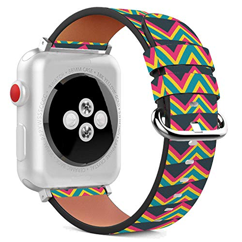 (42mm Replacement PU Leather Wristband Bracelet with Stainless Steel Clasp and Adapters for Apple Watch - Trippy Pyramid Scales)