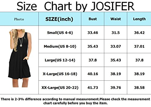 Sleeve Y JOSIFER with Swing Casual Shirt Sleeveless Women's Dress Pockets Pleated Short amp; black T Loose 66wqRTpE