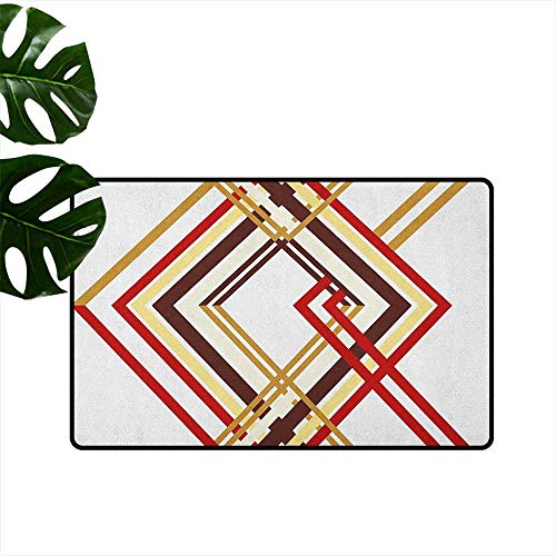 RenteriaDecor Modern,Indoor Floor Mats Retro Style Diamond Like Border Lined Geometrical Artwork Design 18